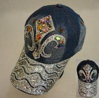 Denim Hat with Bling [Fleur de Lis] Colored Gems